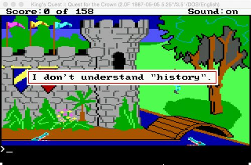 "I Don't understand ""history"". (Eugen Pfister / King's Quest / 29.6.2016)."
