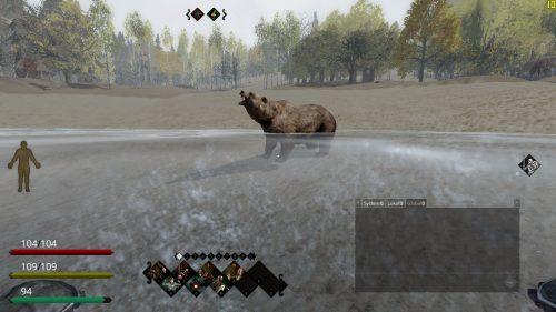 Bärenjagd in Life is Feudal. Einer lockt den Bären zum Wasser, während der andere den Bären aus sicherer Entfernung mit Pfeil und Bogen erlegt.