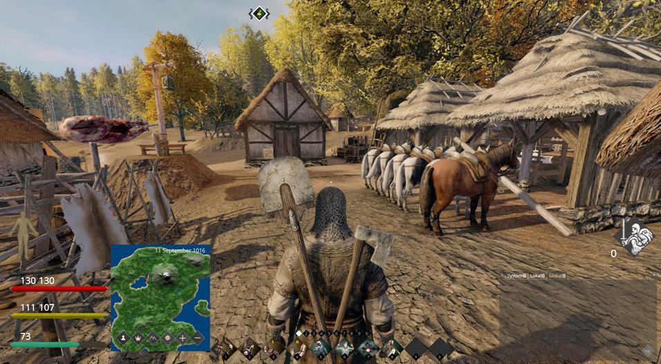 Screenshot aus Life is Feudal: Siedlung mit Stall und Pferden