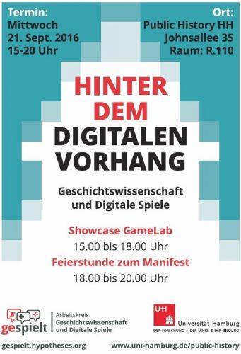 In Hamburg richtete sich der Arbeitskreis im Semptember 2016 gezielt an das Fachpublikum auf dem Historikertag. (Abb.: Flyer, Daniel Giere)