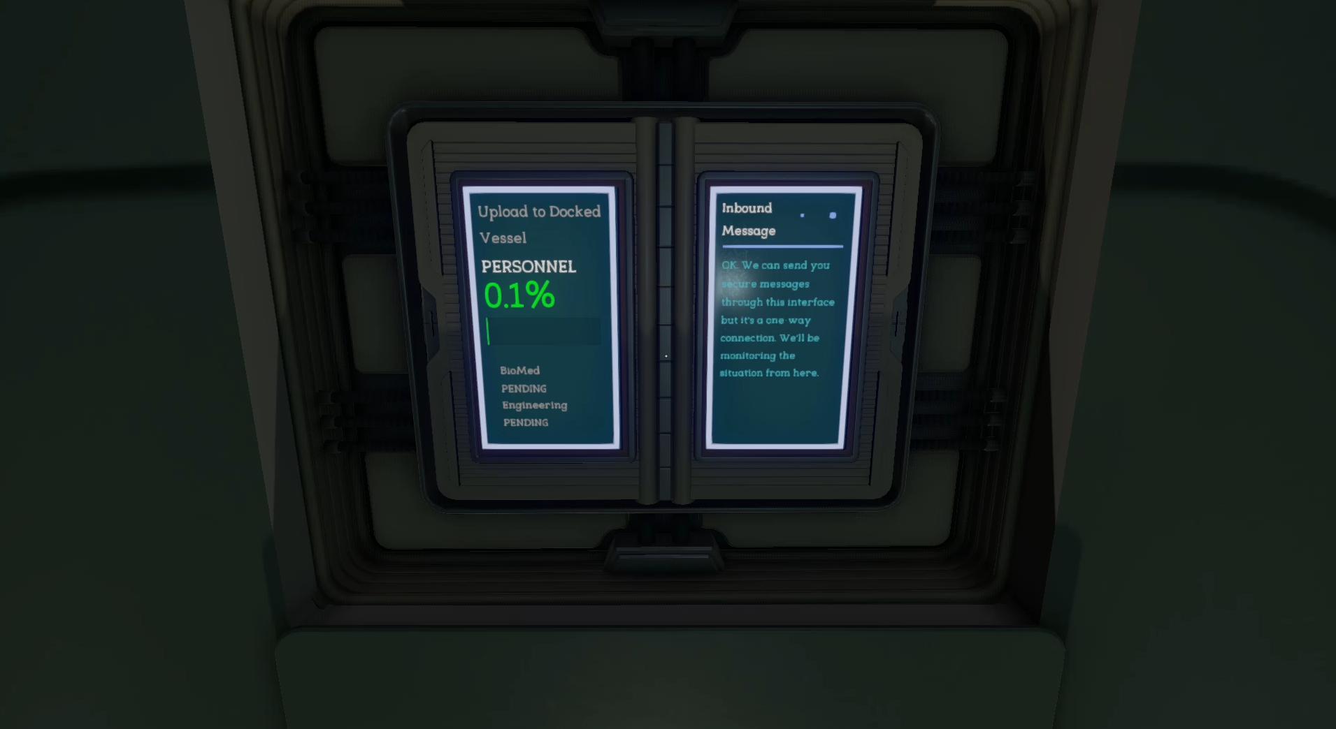 Screenshot von Tacoma (erstellt von Felix Zimmermann): Der Datentransfer läuft auch ohne weiteres Zutun des Spielenden ab
